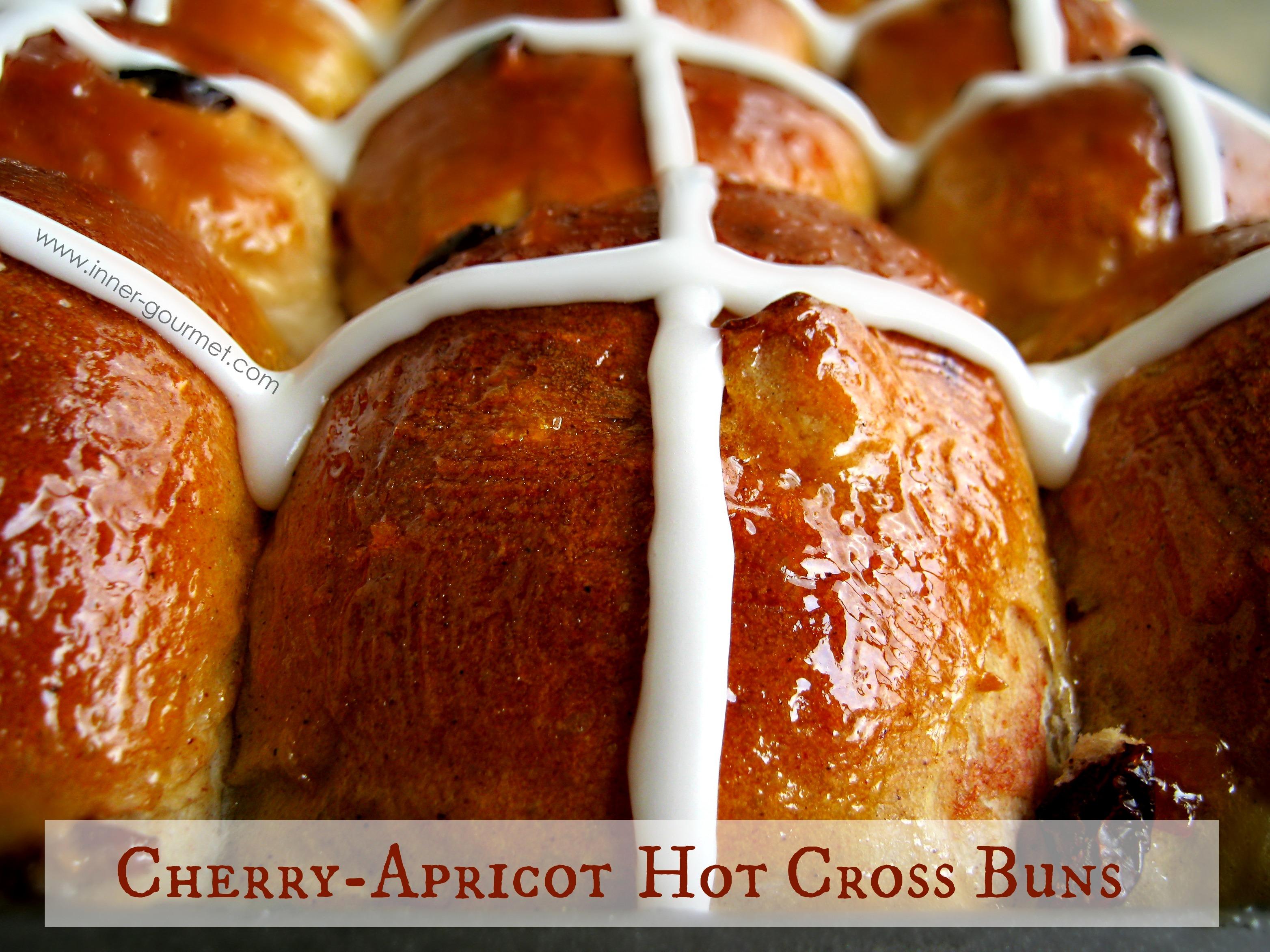 Cherry Apricot Hot Cross Buns