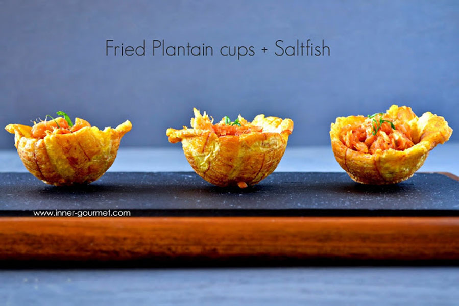 Holiday Appetizer: Fried Plantain Cups + Saltfish Filling - Alica's Pepper Pot