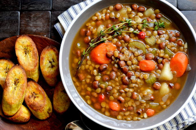 Lentil and Pigeon Pea Soup with Broiled Plantains - Alica's Pepperpot