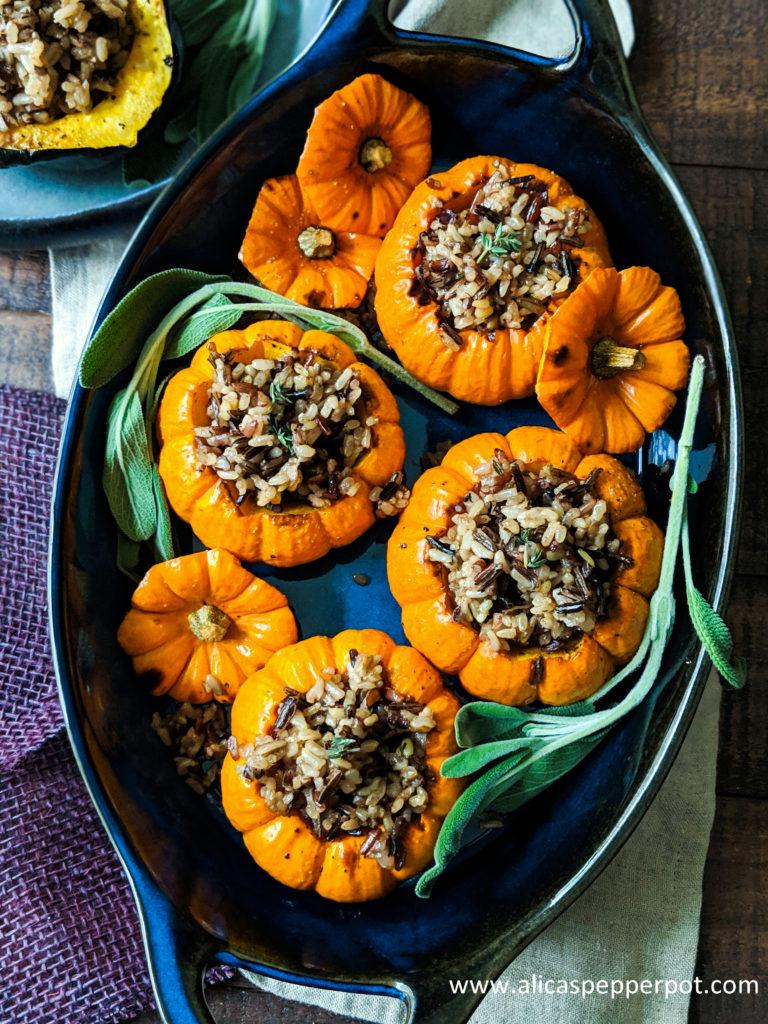 Pumpkin stuffed wild rice - Alicas pepperpot