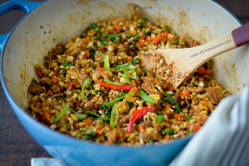 Cauliflower fried rice recipe. Easy recipe. Can be customized with different proteins.