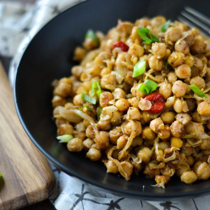 Guyanese boil & fry channa (chickpeas)